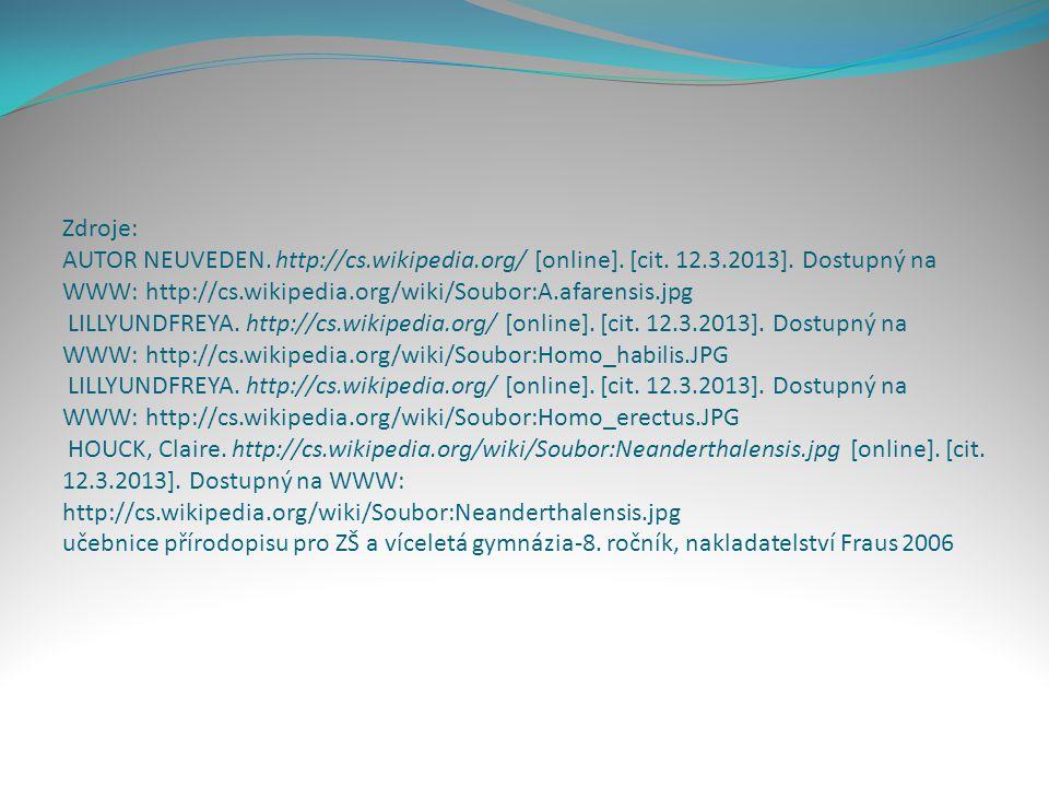 Zdroje: AUTOR NEUVEDEN. http://cs. wikipedia. org/ [online]. [cit. 12